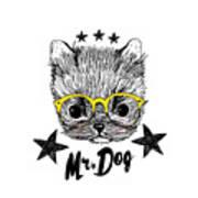 Puppy And Yellow Glasses Illustration Art Print