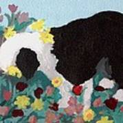 Puppy Stops To Eat The Flowers Art Print