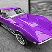 Purple 1968 Corvette C3 From Above Art Print