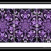 Purple Abstract Flower Garden - Kaleidoscope - Triptych Art Print