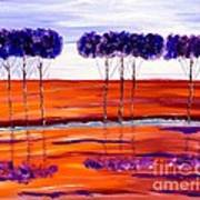 Purple And Blue Trees Abstract Art Print