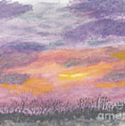 Purple And Gold November Sunset In West Michiganwatercolor Art Print