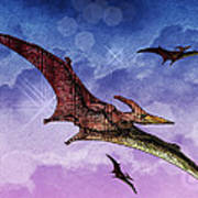 Purple And Green Ptreodactyls Soaring In The Sky Art Print