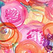 Purple And Orange Flowers Art Print