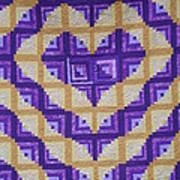 Purple And Yellow Endless Love Log Cabin Quilt Art Print