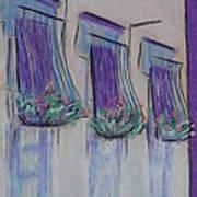 Purple Balconies Art Print by Marcia Meade