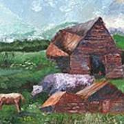 Purple Cow And Barn Art Print by William Killen