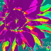Purple Dahlia Pop Art Art Print