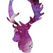 Purple Deer Head Silhouette Watercolor Artwork Art Print