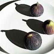 Purple Figs On A White Plate Art Print