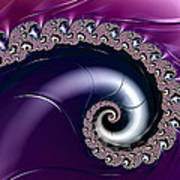 Purple Fractal Spiral For Home Or Office Decor Art Print