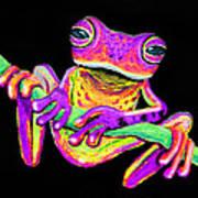 Purple Frog On A Vine Art Print