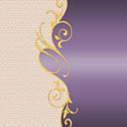 Purple Gold Chevron Art Print