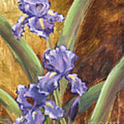 Purple Iris With Gold Leaf By Vic Mastis Art Print