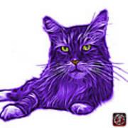 Purple Maine Coon Cat - 3926 - Wb Art Print