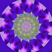 Purple Morning Glory Kaleidoscope Art Print