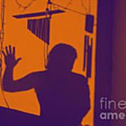 Purple Orange Figure Shadow Art Print