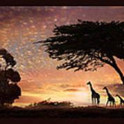 Purple Safari Sunset Art Print