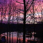 Purple Sunset On Smith Mt. Lake Art Print