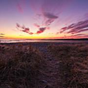Purple Sunset Sky At The Beach Art Print