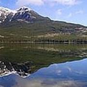 Pyramid Lake Mountain Reflections - Jasper, Alberta Art Print