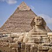 Pyramids And Sphinx In Egypt Art Print
