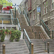 quaint  street scene  photograph THE BREAKNECK STAIRS of QUEBEC CITY   Art Print