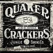 Quaker Crackers Rustic Sign For Kitchen In Black And White Print by Lisa Russo