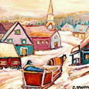 Quebec City Street Scene Caleche Ride In The Village Art Print
