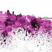 Quebec Skyline In Pink Watercolor On White Background Art Print