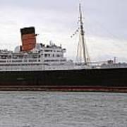 Queen Mary Ocean Liner Starboard Side 05 Long Beach Ca Art Print
