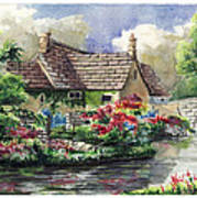 Quiet House Along The River Art Print