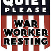 Quiet Please - War Worker Resting  Art Print