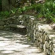 Bench In A Stone Wall Art Print