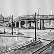 Quiet West Oakland Train Tracks With Overpass And San Francisco  Art Print