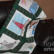 Quilt Newfoundland Tartan Green Posts Print by Barbara Griffin