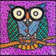 Quilted Dr Owl Art Print