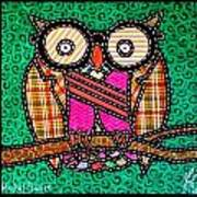 Quilted Mr Owl Esquire Art Print