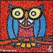 Quilted Professor Owl Art Print