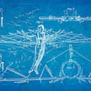 Quinby Flying Apparatus Patent Art 1872 Blueprint Art Print