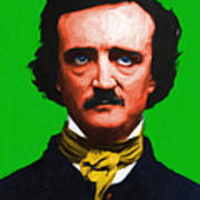 Quoth The Raven Nevermore - Edgar Allan Poe - Painterly - Green - With Text Art Print