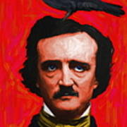 Quoth The Raven Nevermore - Edgar Allan Poe - Painterly - Red - Standard Size Art Print by Wingsdomain Art and Photography