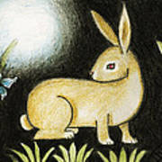 Rabbit And The Butterfly . . . From The Tapestry Series Art Print