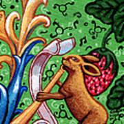 Rabbit Plays The Flute Art Print