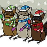 Raccoons Winter Art Print