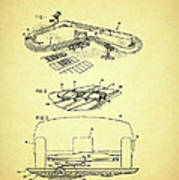 Race Car Track With Race Car Retaining Means Patent 1968 Art Print