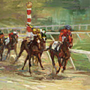 Race Horses Print by Laurie Hein