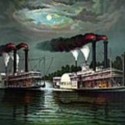 Race Of The Steamers Robert E Lee And Natchez Art Print
