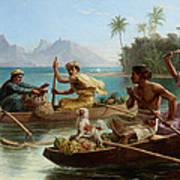 Race To The Market Tahiti Art Print