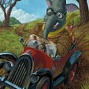 Racing Car Animals Print by Martin Davey
